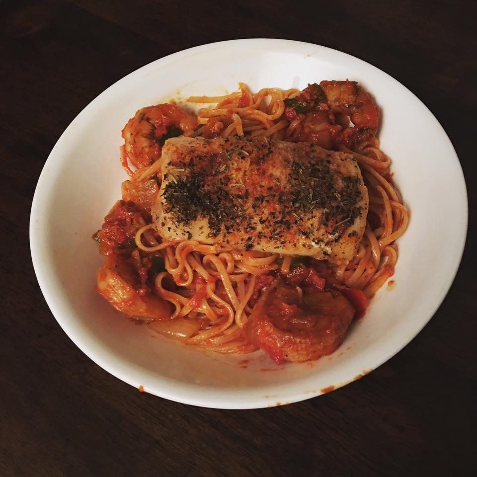 Cod & Shrimp fra diavolo over linguine