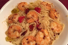 Sautéed shrimp with garlic,Calabrese peppers,extra virgin olive oil over capellini.