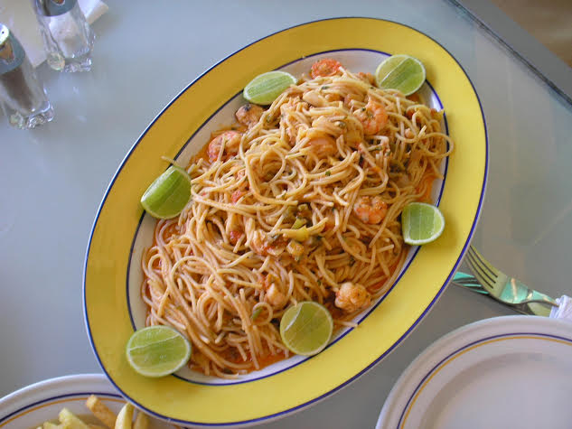 Seafood pasta with lime